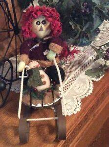 3 Ft Lighted Snowman Primitive Country Plush Raggedy Andy On Wood And Metal