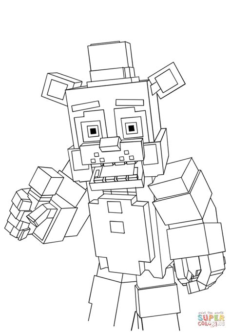 minecraft freddy coloring page  printable coloring pages