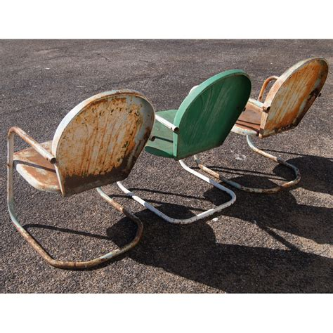 3 vintage metal outdoor patio tulip chairsprice reduced