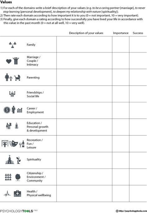 Values Worksheet  Psychology Tools