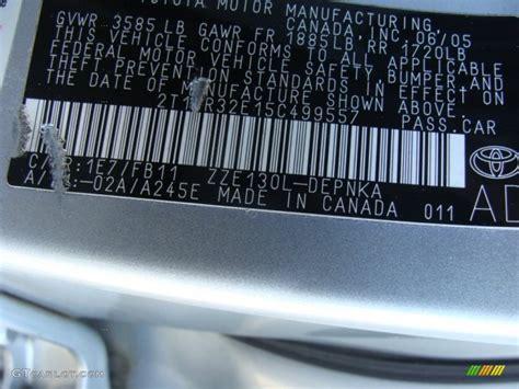 2005 corolla color code 1e7 for silver streak mica photo