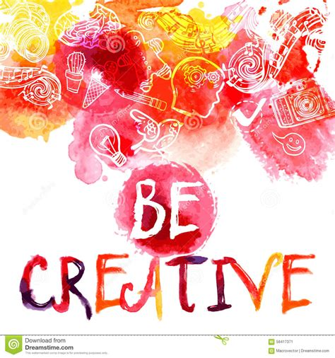 Creativity Watercolor Concept Stock Vector Illustration