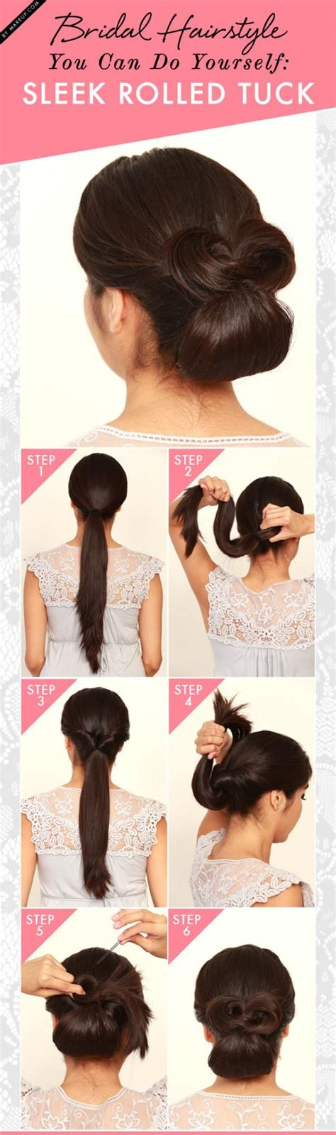 bridal hairstyle      sleek rolled tuck