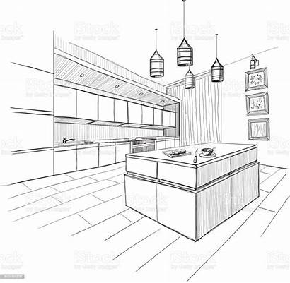 Sketch Kitchen Interior Modern Island Apartment Vector
