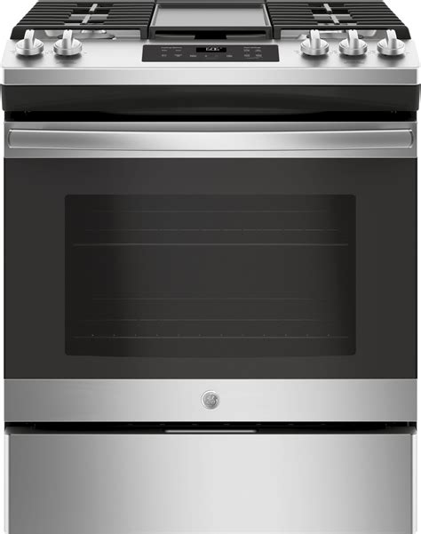 jgssselss ge    front control gas range steam clean stainless steel
