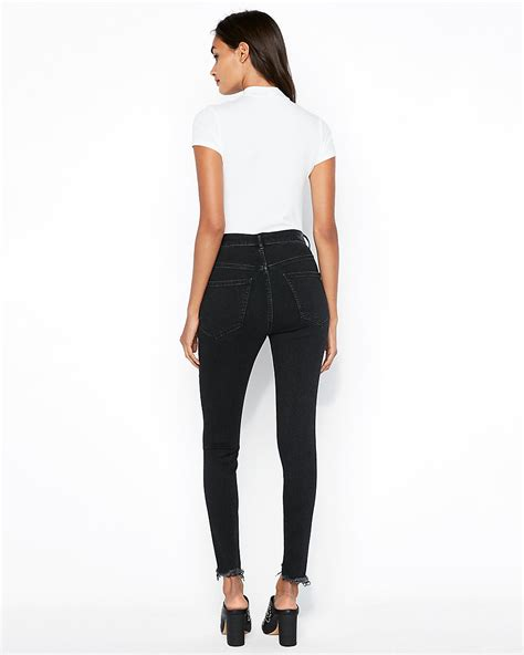 Shop Super High Waisted Black Denim Leggings Sale