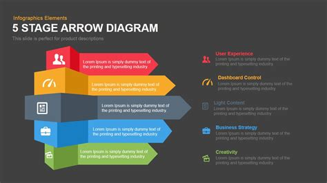 5 Stage Arrow Diagram Template For Powerpoint & Keynote