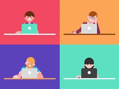 Laptop Characters Employees Dribbble Animation Employee Involve