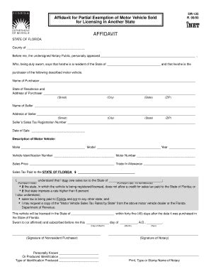 Boat License Exemption by Affidavit For Exemption Of Boat Sold Florida Fillable