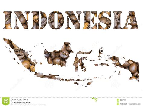 indonesia word  country map shaped  coffee beans