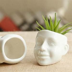Smile Human Face Succulent Pot White Ceramic Mini Cactus