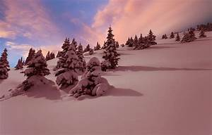 Wallpaper winter, snow, landscape, sunset images for ...