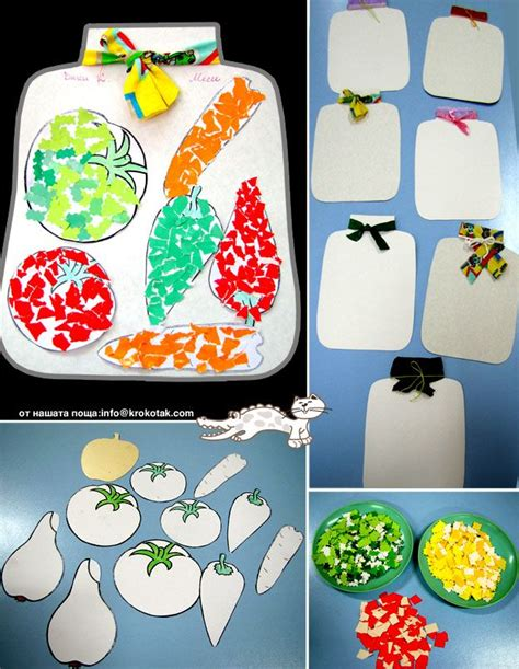 veggie torn paper craft fall crafts crafts  kids