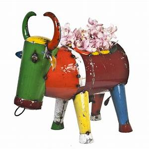 Bruce, The, Bull, Planter, Eeieeio, Metal, Animal, Garden, Art, Sculpture