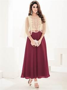 Sasya Maroon & Beige Designer Kurti Arihant-8063