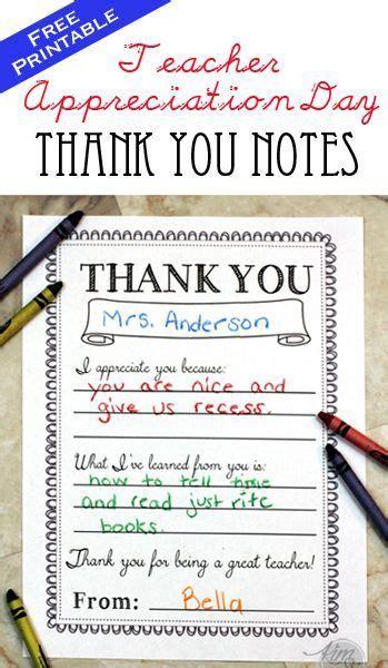 teacher appreciation day printable   notes