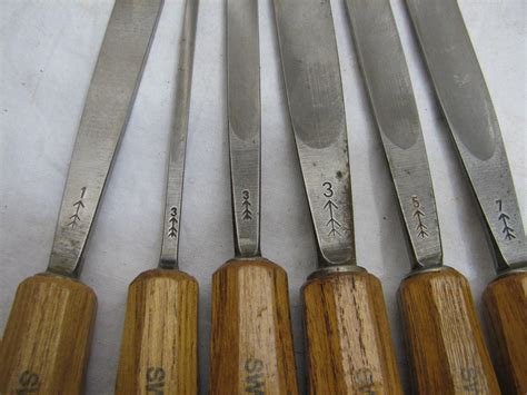 set vintage gouge woodworking chisels swiss  wood