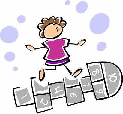 Hopscotch Clip Playing Clipart Games Fun Numbers