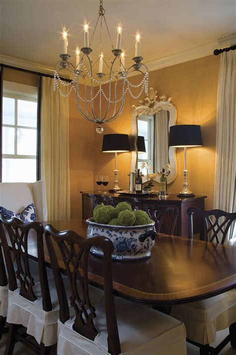beautiful classic dining room textured wallpaper black accents  great chandelier
