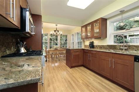 galley kitchen styles galley style kitchen with wood shaker style cabinets 1178