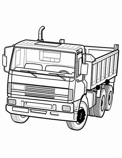 Truck Coloring Dump Semi Pages Drawing Trailer