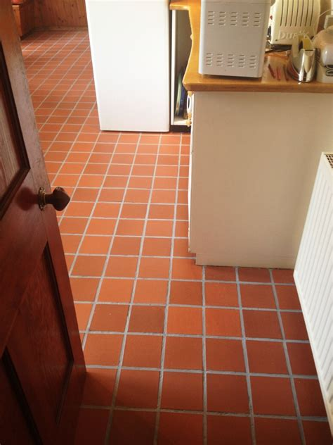 stained quarry tile grout cleaned and coloured in
