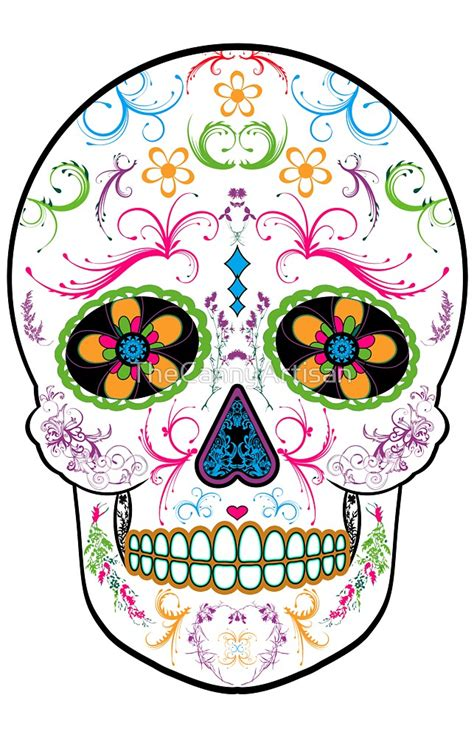 sugar skull wall quot day of the dead sugar skull bright multi color quot by
