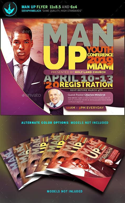 man  church conference flyer template flyer design
