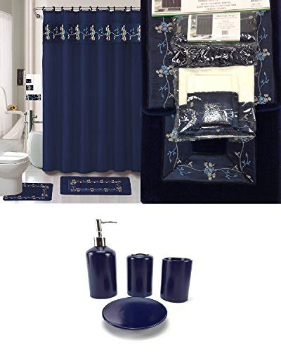piece bath accessory set navy blue flower bathroom rug set shower curtain accessories