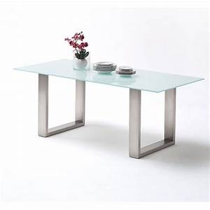 sayona glass dining table in pure white and stainless steel With glass and stainless steel dining table