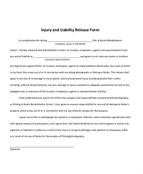 sample  release  liability form  examples