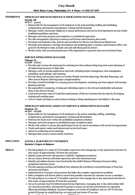 Sle Resume For Operations Manager by Merchant Services Resume Sles Diplomatic Regatta