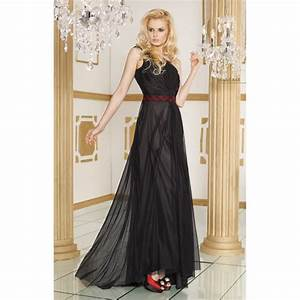 nuisette longue simili robe noir et rouge a68 ndr With robe style nuisette
