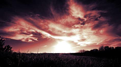 Red Cloud, Sunset, Red Sun, Grass Hd Wallpapers / Desktop