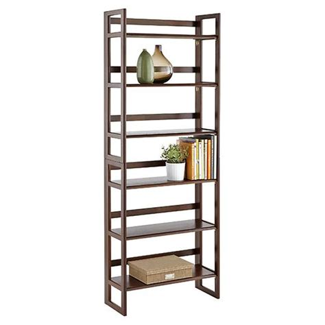folding bookshelf java solid wood stackable folding bookcase the container store