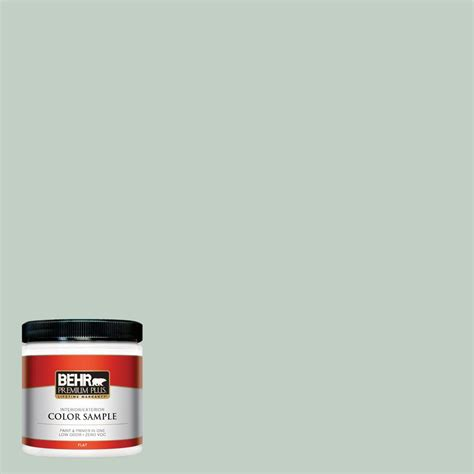 behr premium plus 8 oz ppu11 13 frosted jade flat interior exterior paint and primer in one