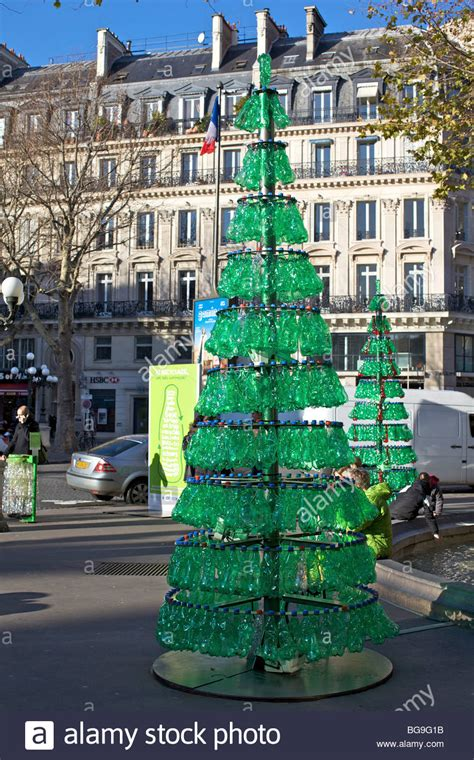 christmas trees made of bottles tree made from recycled green plastic bottles in stock photo royalty free image
