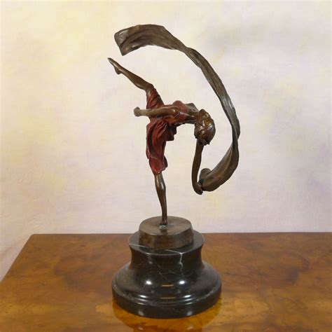 statuette deco femme bronze sculpture of a dancer deco ls