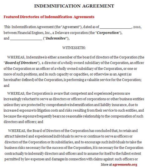 indemnification agreement sample indemnification