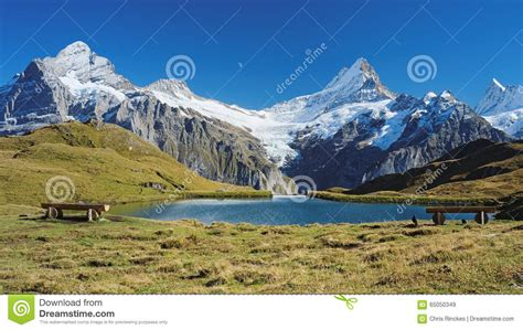 Direction Signs Alpine Hikes Alps Switzerland Stock Photo Encountering The Bachalpsee During The Hiking Trail