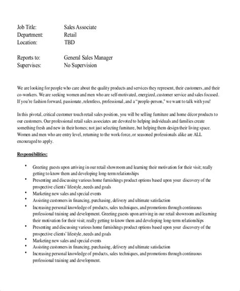 Duties Of A Sales Associate In Retail For Resume by Sle Retail Description 8 Exles In Word Pdf