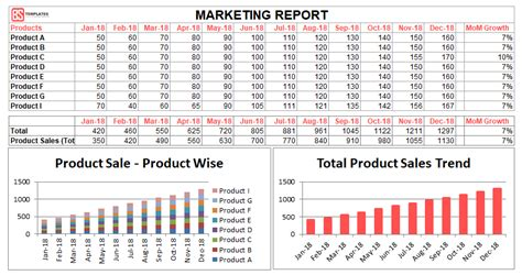 marketing report template excel  daily monthly
