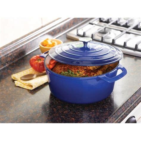 shop cooks tools enamel cast iron porcelain qt dutch oven blue overstock