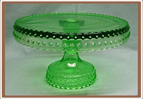 green glass l l e smith green glass hobnail pedestal cake stand plate