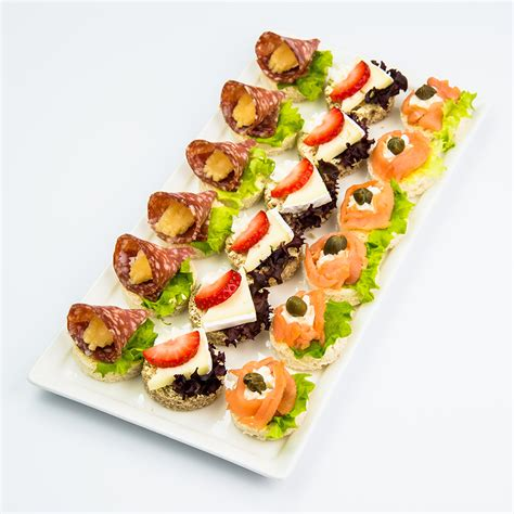 canapé cuisine canapes and finger food variety platter with smoked salmon sausage and brie my catering