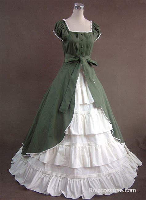 green  white short sleeves floral double layer lolita prom dress