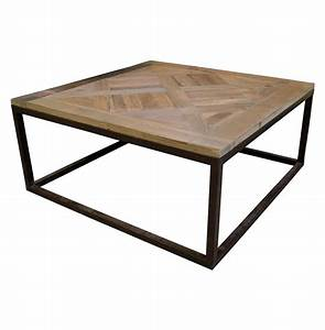 Gramercy modern rustic reclaimed parquet wood iron coffee for Parquet coffee table