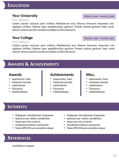 purple curriculum vitae template  powerpoint