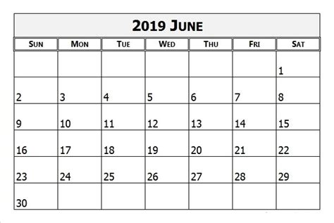 june printable calendar templates holidays