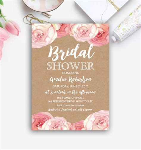 Free Editable Bridal Shower Invitation Kraft Watercolor